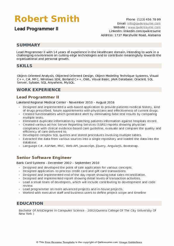 lead programmer resume samples qwikresume examples pdf font size include on process Resume Programmer Resume Examples