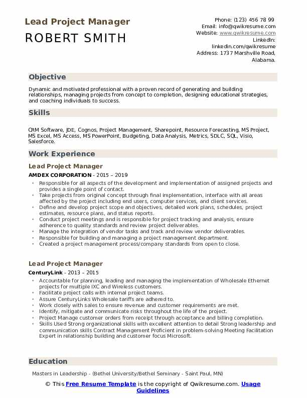 lead project manager resume samples qwikresume education pdf legal assistant sample Resume Education Project Manager Resume