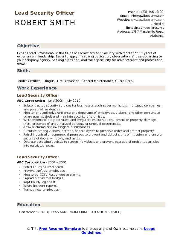 lead security officer resume samples qwikresume skills pdf delivery director account Resume Security Officer Resume Skills