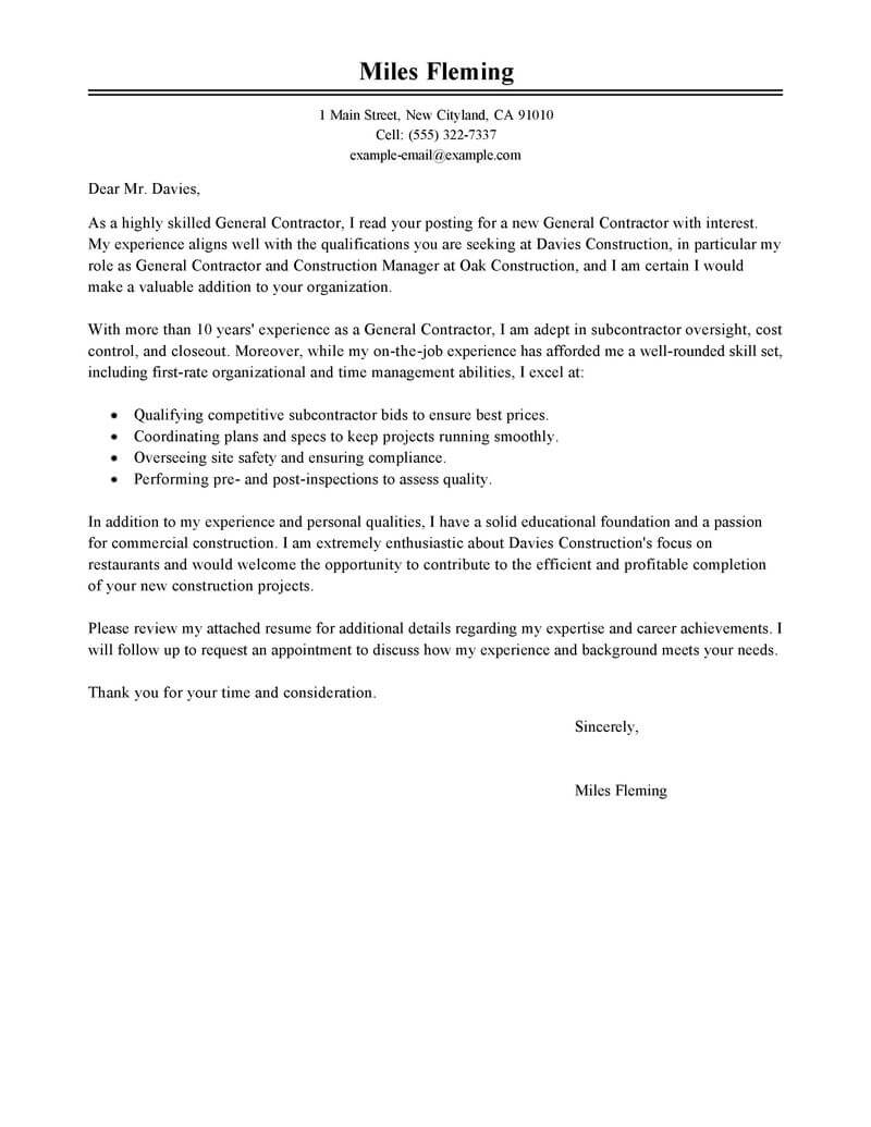 leading professional general contractor cover letter examples resources myperfectresume Resume General Contractor Resume Objective Examples