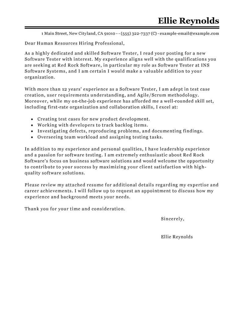 leading professional software testing cover letter examples resources myperfectresume for Resume Cover Letter For Manual Testing Resume