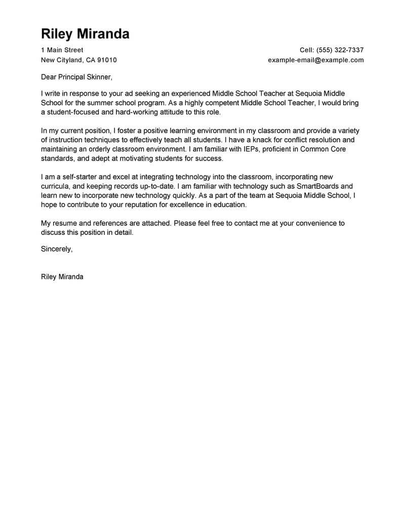 leading professional summer teacher cover letter examples resources myperfectresume Resume Resume Cover Letter For A Teaching Position