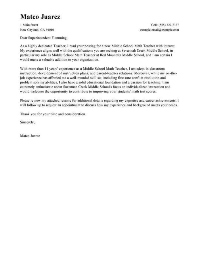 leading professional teacher cover letter examples resources myperfectresume resume for Resume Resume Cover Letter For A Teaching Position