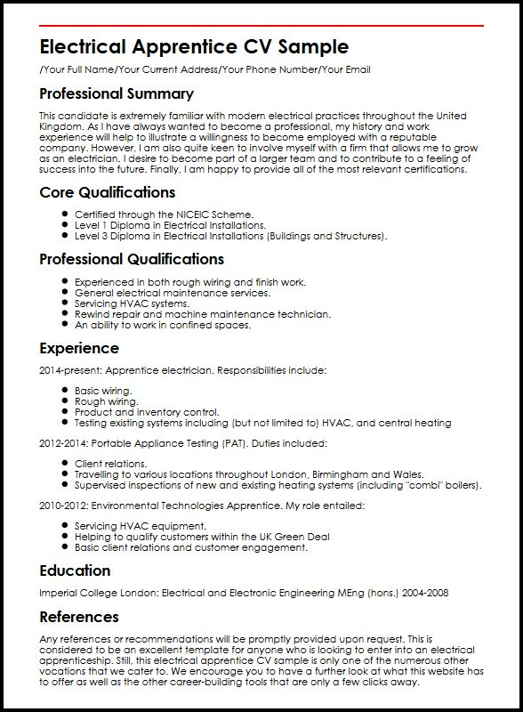 learn to create perfect apprentice cv myperfectcv apprenticeship resume format electrical Resume Apprenticeship Resume Format