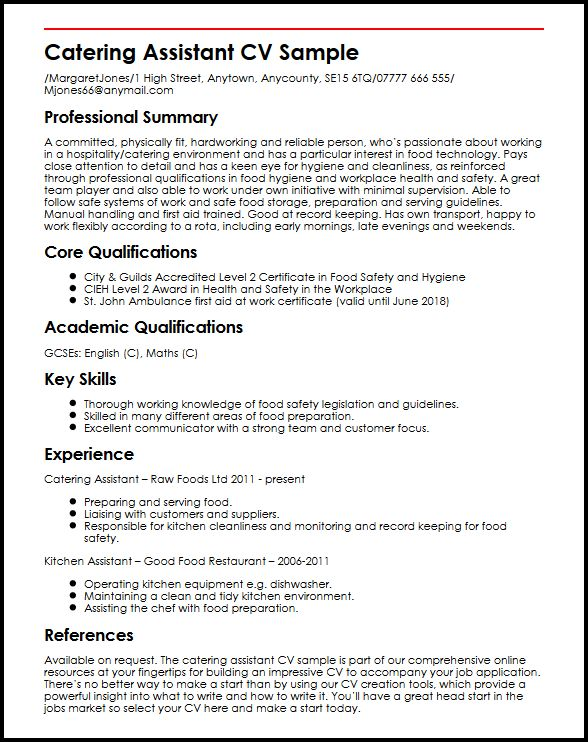 learn to create perfect catering assistant cv myperfectcv first aid resume sample speech Resume First Aid Resume Sample