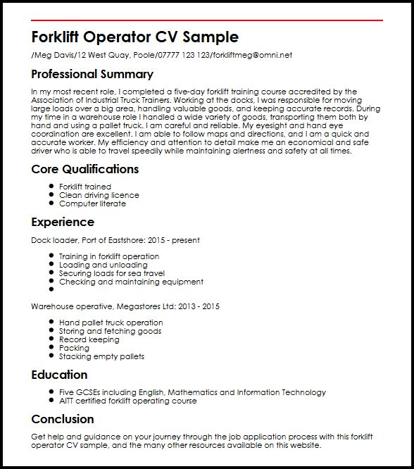 learn to create perfect forklift operator cv myperfectcv driver resume template sample Resume Forklift Driver Resume Template