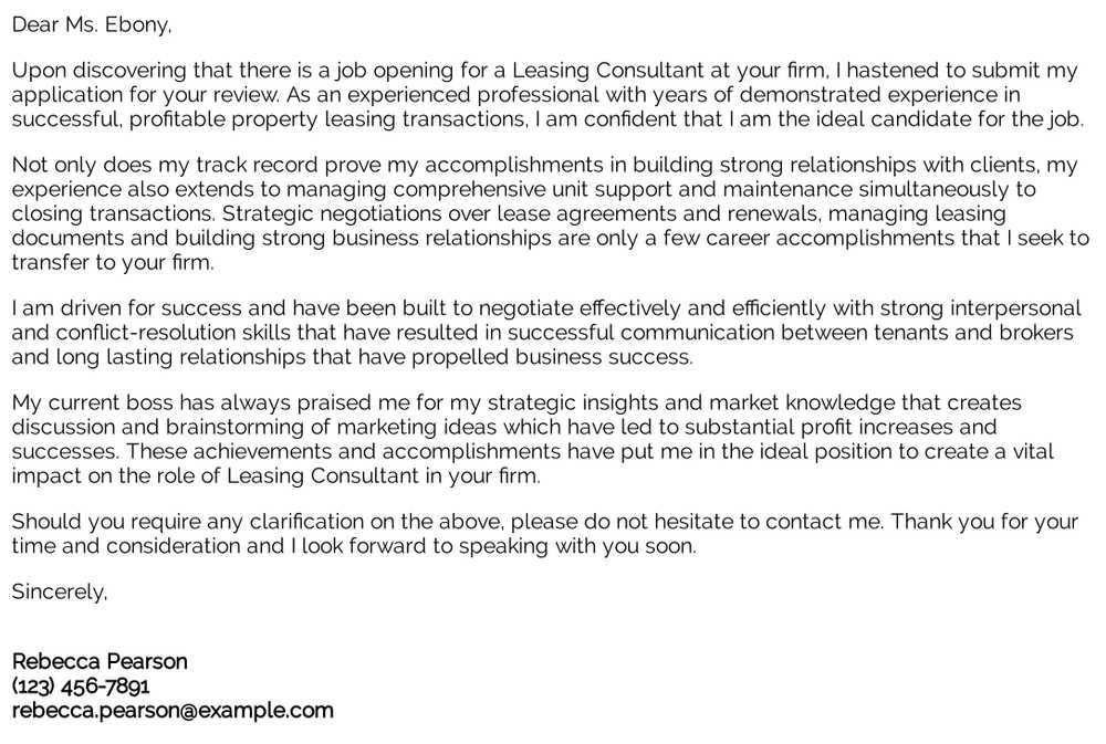 leasing consultant cover letter examples samples templates resume senior technical writer Resume Leasing Consultant Resume