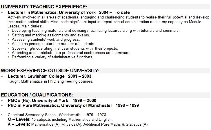 lecturer cv sample in teacher resume examples template objective experience scholarship Resume Lecturer Experience Resume