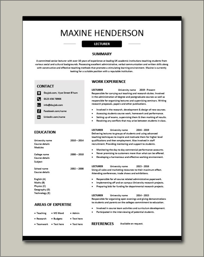lecturer cv template academic teaching research education jobs resume for university job Resume Resume For University Job
