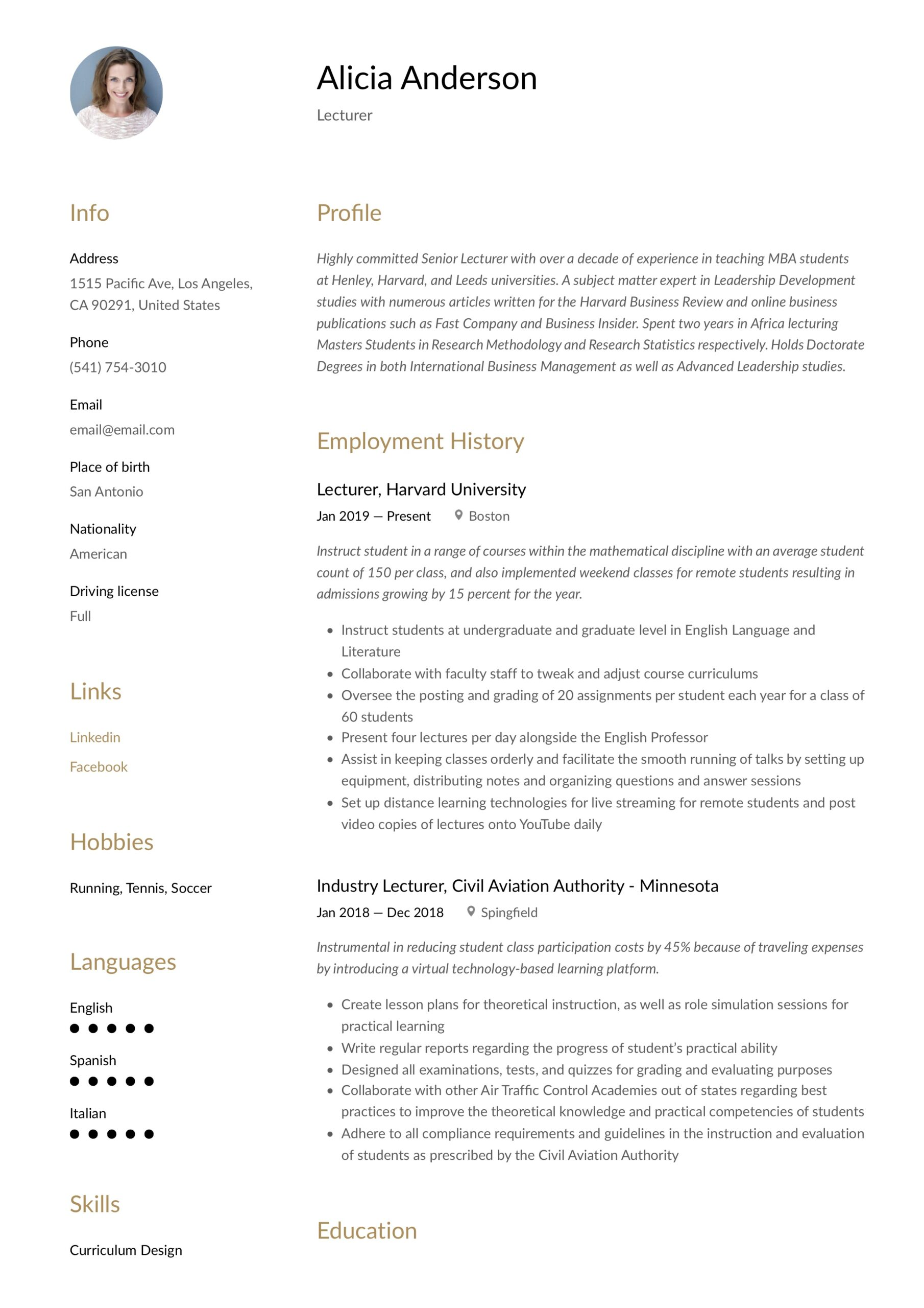 lecturer resume writing guide free examples experience public affairs uber eats Resume Lecturer Experience Resume