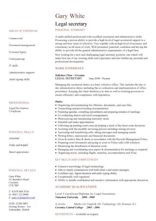 legal secretary cv sample example of resume for criminology pic template business analyst Resume Example Of Resume For Criminology