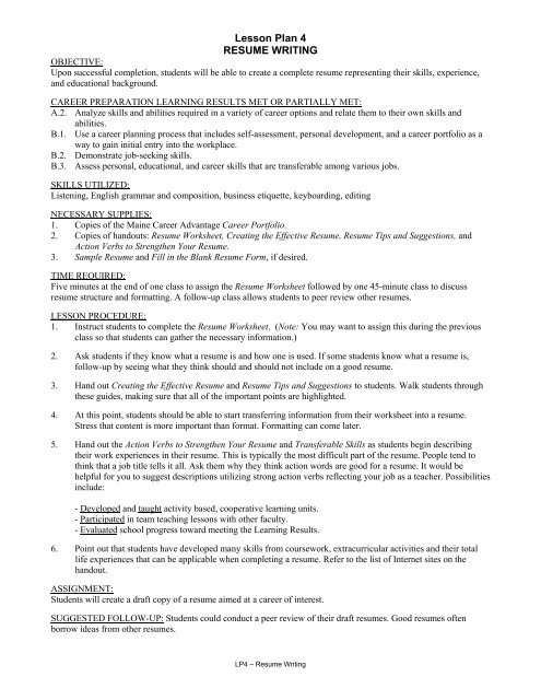 lesson plan resume writing center for career development structure of hire service Resume Structure Of Resume Writing