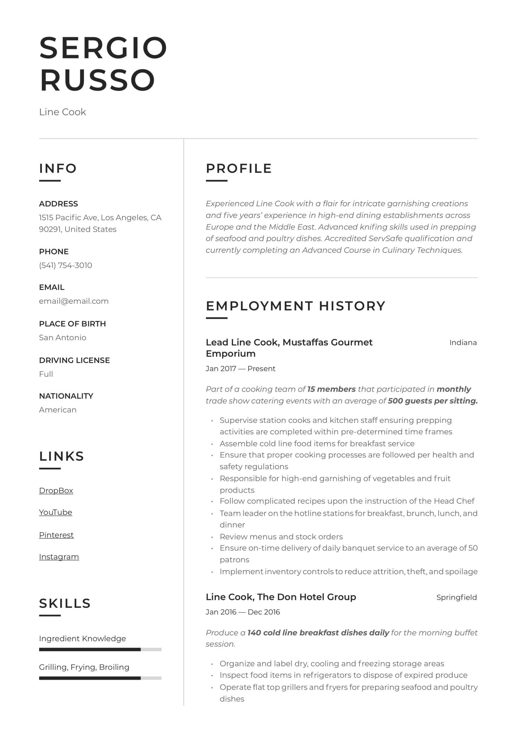 line resume writing guide examples responsibilities for startup relevant coursework on Resume Cook Responsibilities For Resume