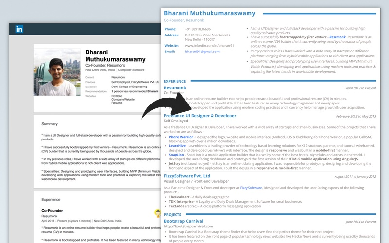 linkedin to resume converter create pdf quickly examples with url comparision easy aim Resume Resume Examples With Linkedin Url