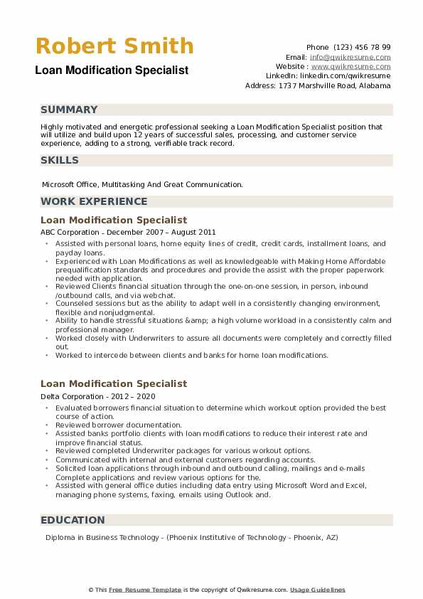 loan modification specialist resume samples qwikresume pdf skills for consulting Resume Loan Modification Specialist Resume