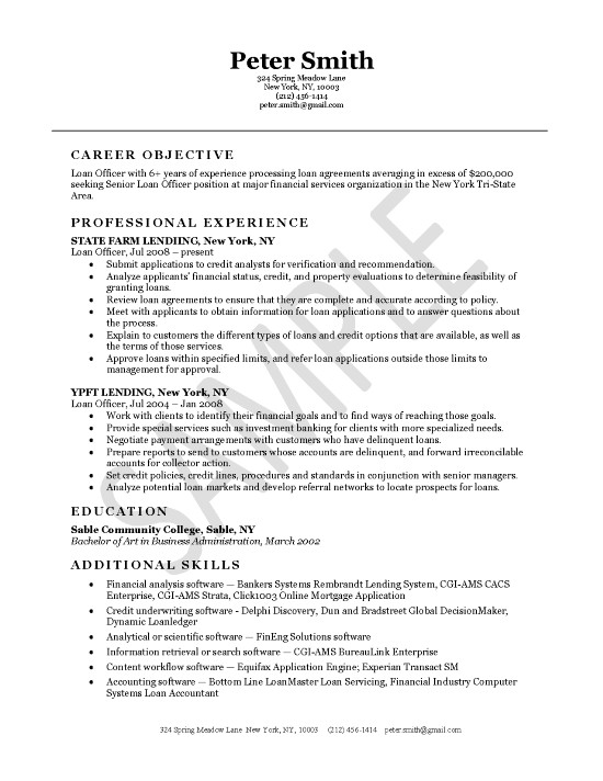 loan officer resume example examples exfi16 athletic trainer template technical format Resume Loan Officer Resume Examples
