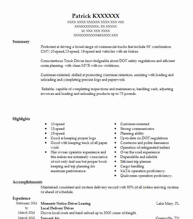local delivery driver resume example resumes livecareer route sample programme marine le Resume Route Driver Resume Sample