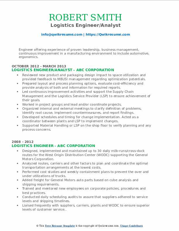 logistics engineer resume samples qwikresume pdf words for summary definition verb fast Resume Logistics Engineer Resume