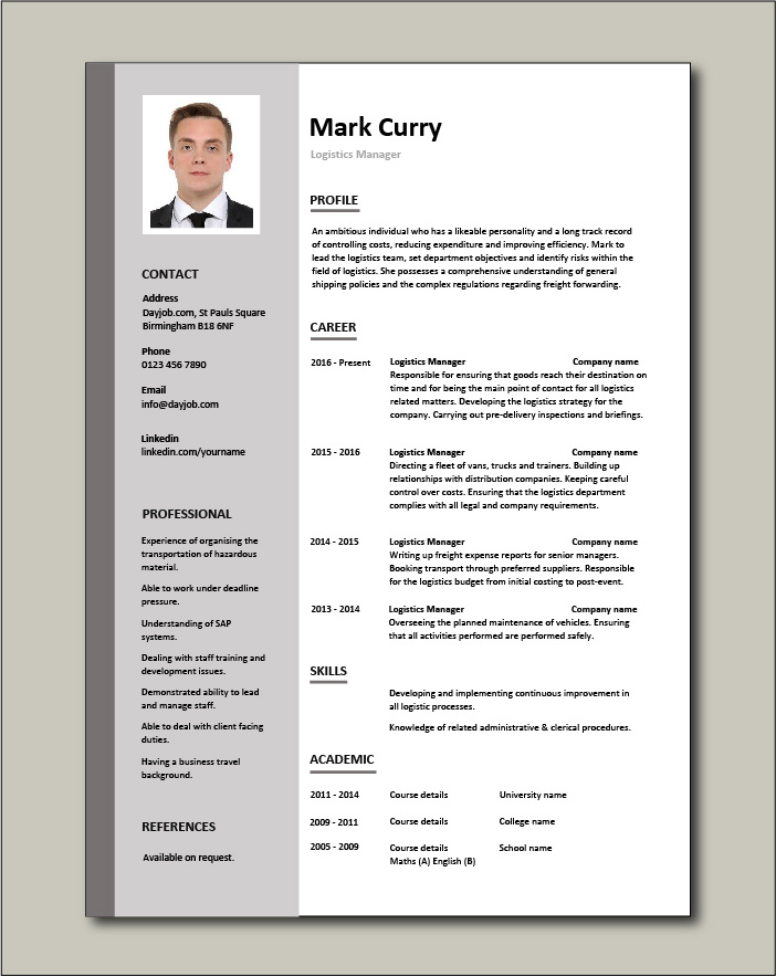 logistics manager cv template example job description supply chain delivery of goods Resume Senior Transportation Manager Resume