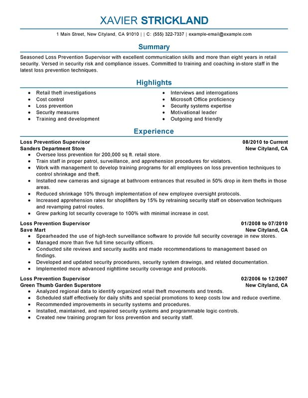 loss prevention supervisor resume examples free to try today myperfectresume security Resume Security Shift Supervisor Resume