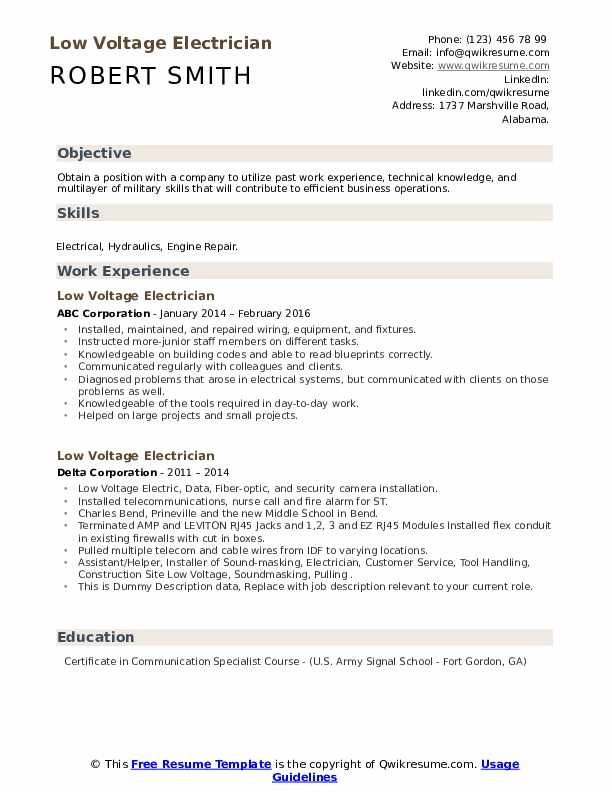 low voltage electrician resume samples qwikresume technician sample pdf headline for your Resume Low Voltage Technician Resume Sample