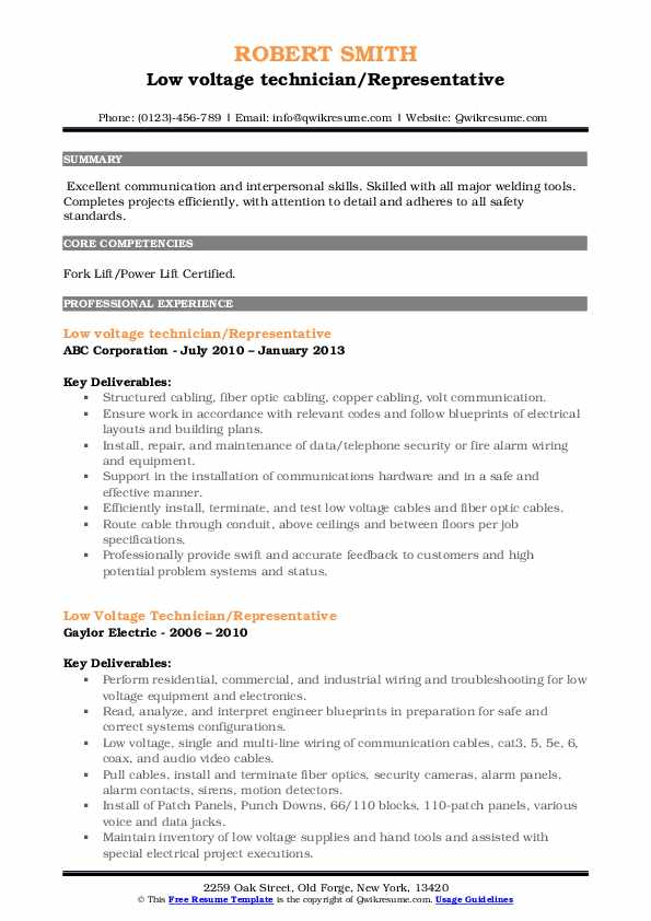 low voltage technician jobs want to learn all about technicians resume sample pdf self Resume Low Voltage Technician Resume Sample