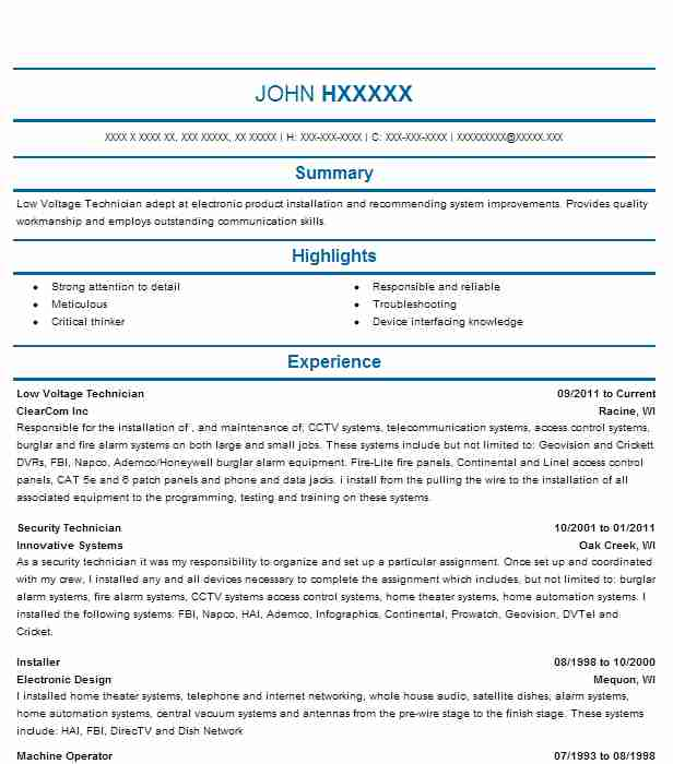 low voltage technician resume example resumes livecareer sample dental assistant examples Resume Low Voltage Technician Resume Sample