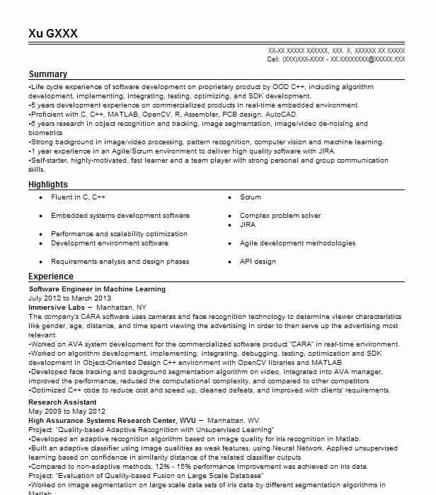 machine learning engineer resume example platerate new python maker software nvh model Resume Python Machine Learning Resume