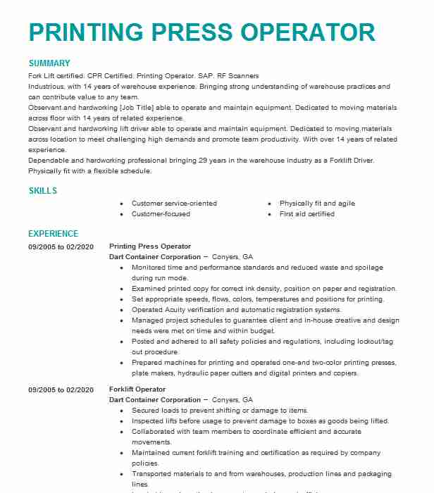 machine operator printing press resume example evergreen packaging good simple quick free Resume Printing Machine Operator Resume