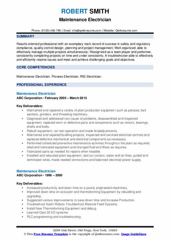 maintenance electrician resume samples qwikresume auto sample pdf technical project Resume Auto Electrician Resume Sample