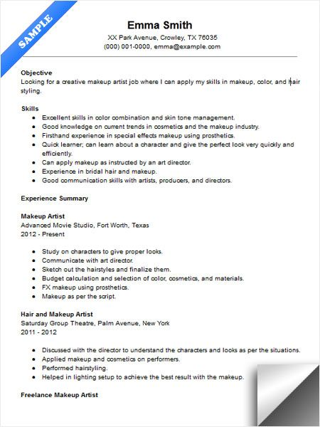 makeup artist resume sample jobs templates free typing skills on format for experienced Resume Makeup Artist Resume Templates Free