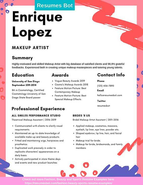 makeup artist resume samples and tips pdf templates resumes bot free example developer Resume Makeup Artist Resume Templates Free