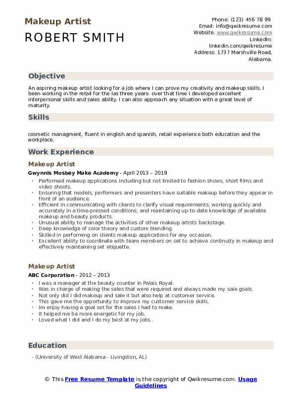 makeup artist resume samples qwikresume templates free pdf telemarketer objective Resume Makeup Artist Resume Templates Free