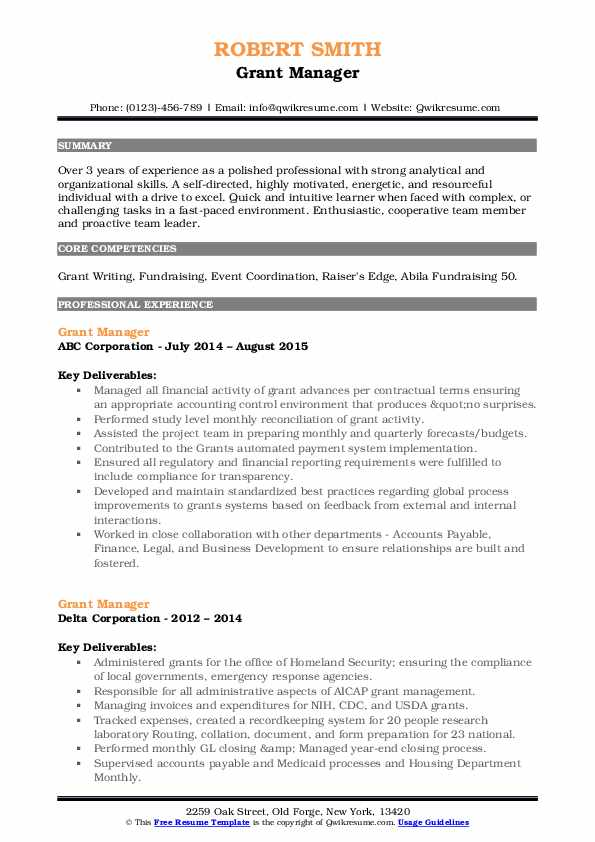 manager resume samples qwikresume sample for pdf rating free blank templates easy format Resume Sample Resume For Grant Manager
