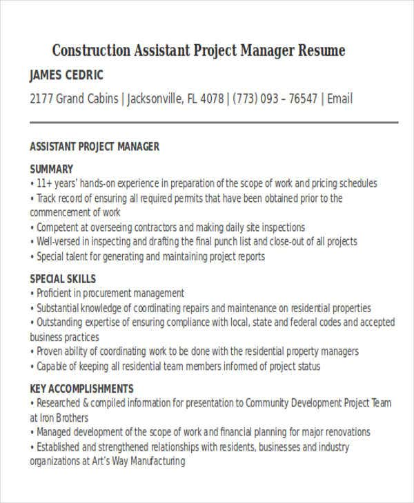 manager resume templates pdf free premium assistant project construction paypal template Resume Assistant Project Manager Construction Resume
