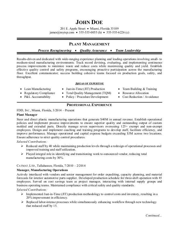 manufacturing plant manager resume sample monster production examples emt professional Resume Production Resume Examples