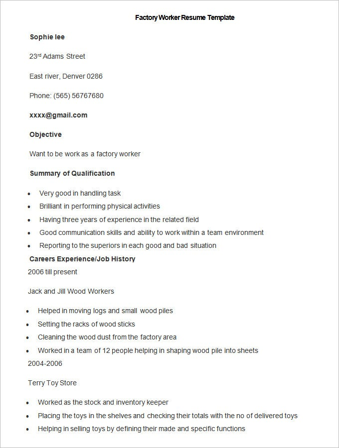 manufacturing resume template free samples examples format premium templates objective Resume Resume Objective For Plant Worker
