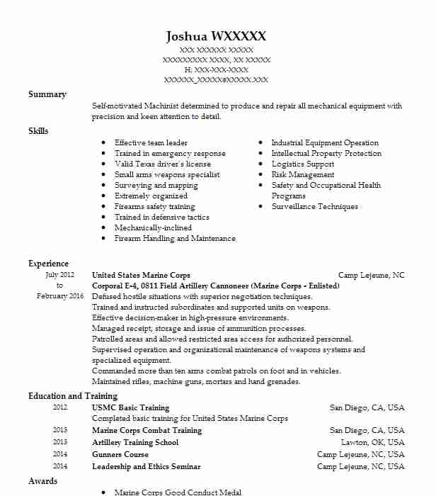 marine corps corporal resume example skills for objective manager office format garment Resume Marine Corps Skills For Resume