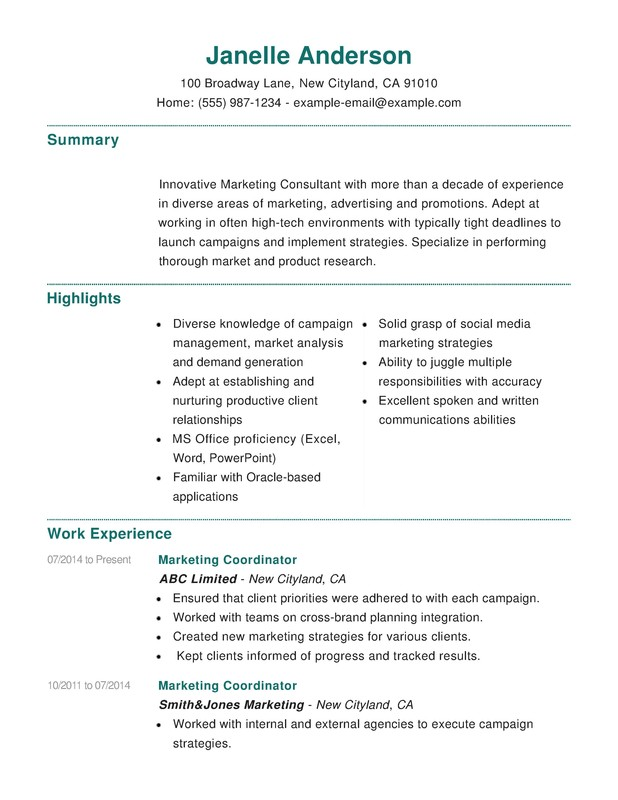 marketing combination resume samples examples format templates help sample free for cnc Resume Combination Resume Sample