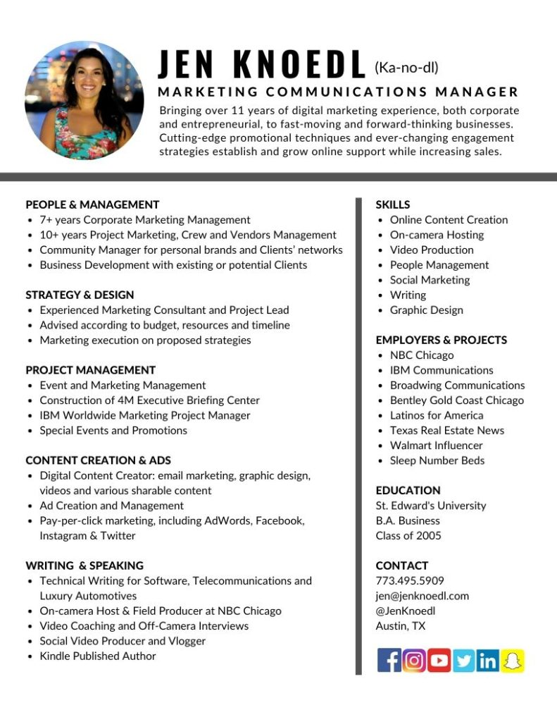 marketing communications manager resume jen knoedl 791x1024 hadoop experience format for Resume Marketing Communications Manager Resume