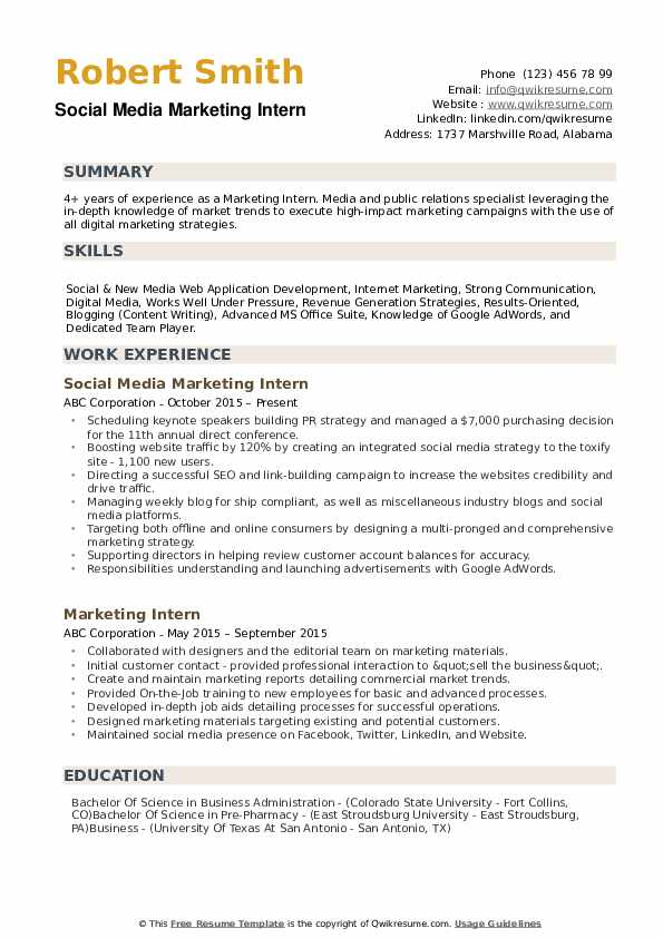 marketing intern resume samples qwikresume internship skills examples pdf safety Resume Internship Resume Skills Examples