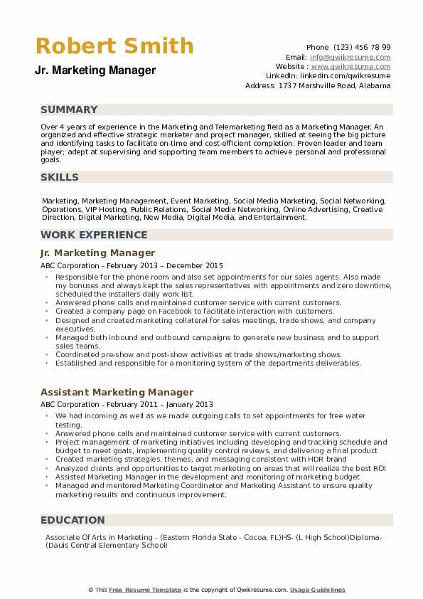 marketing manager resume samples qwikresume objective for position pdf quality analyst Resume Resume Objective For Marketing Position
