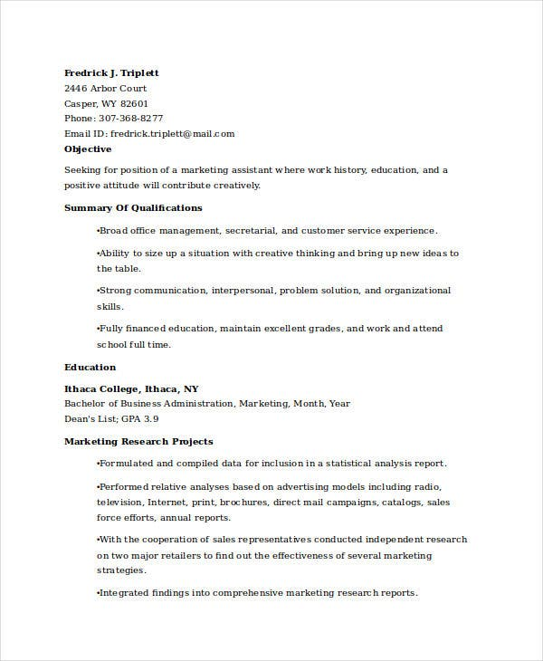 marketing resume examples free word pdf documents premium templates entry level assistant Resume Entry Level Marketing Assistant Resume