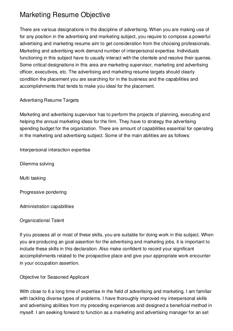 marketing resume objective for position marketingresumeobjective phpapp01 thumbnail Resume Resume Objective For Marketing Position