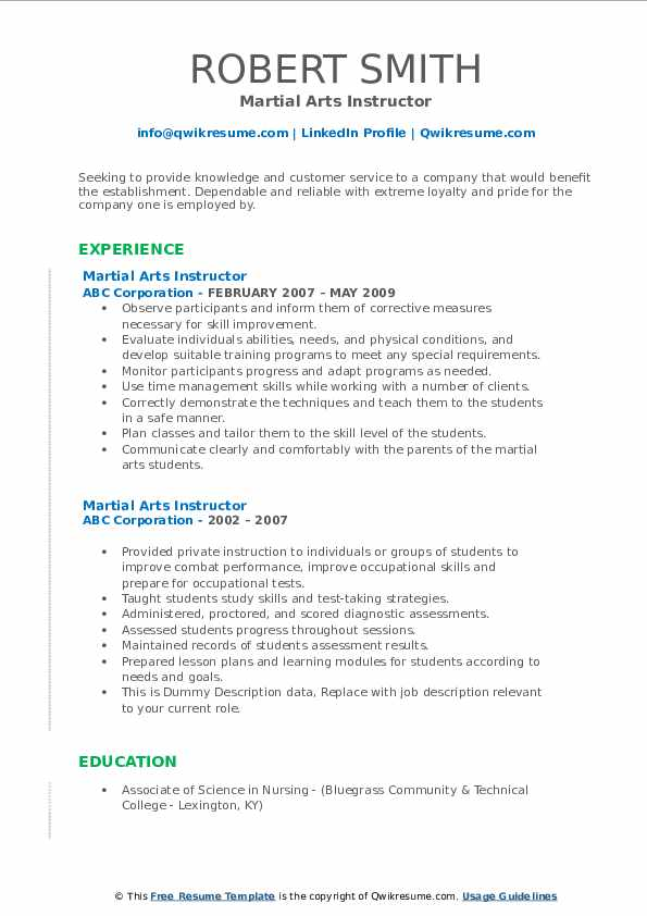 martial arts instructor resume samples qwikresume experience pdf best examples free Resume Martial Arts Experience Resume