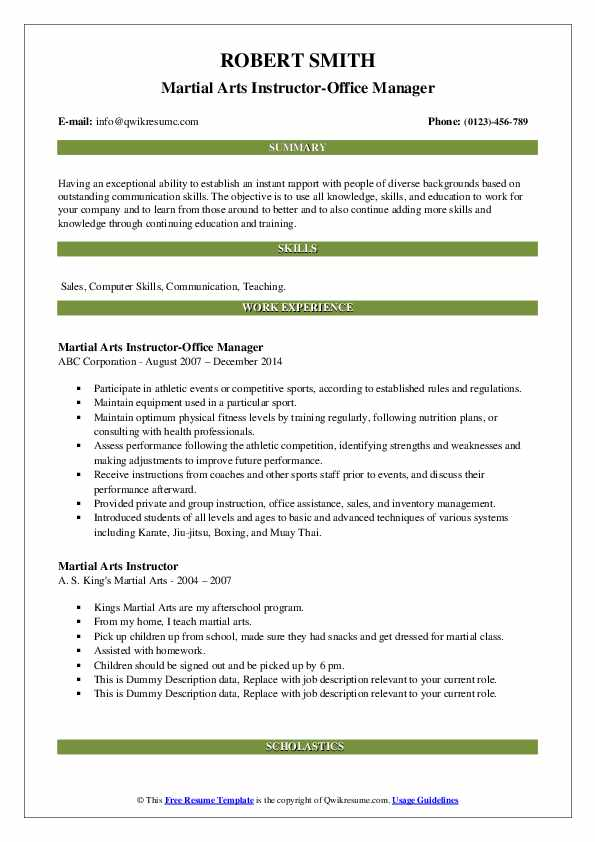 martial arts instructor resume samples qwikresume experience pdf executive classic format Resume Martial Arts Experience Resume