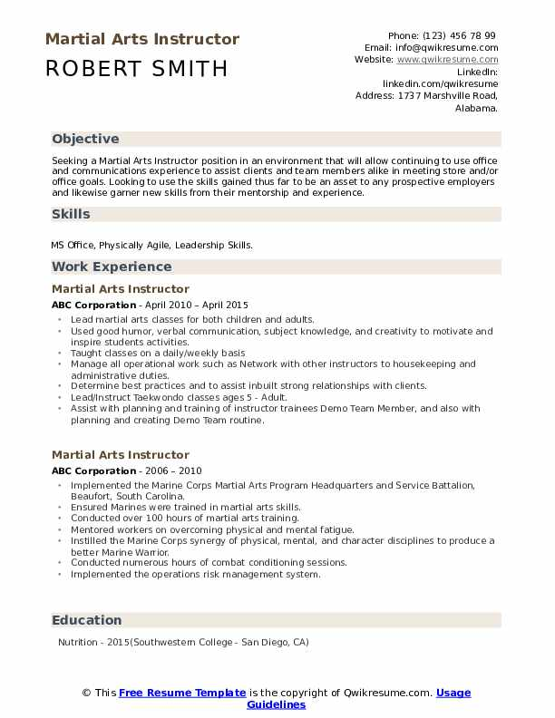 martial arts instructor resume samples qwikresume experience pdf management examples web Resume Martial Arts Experience Resume
