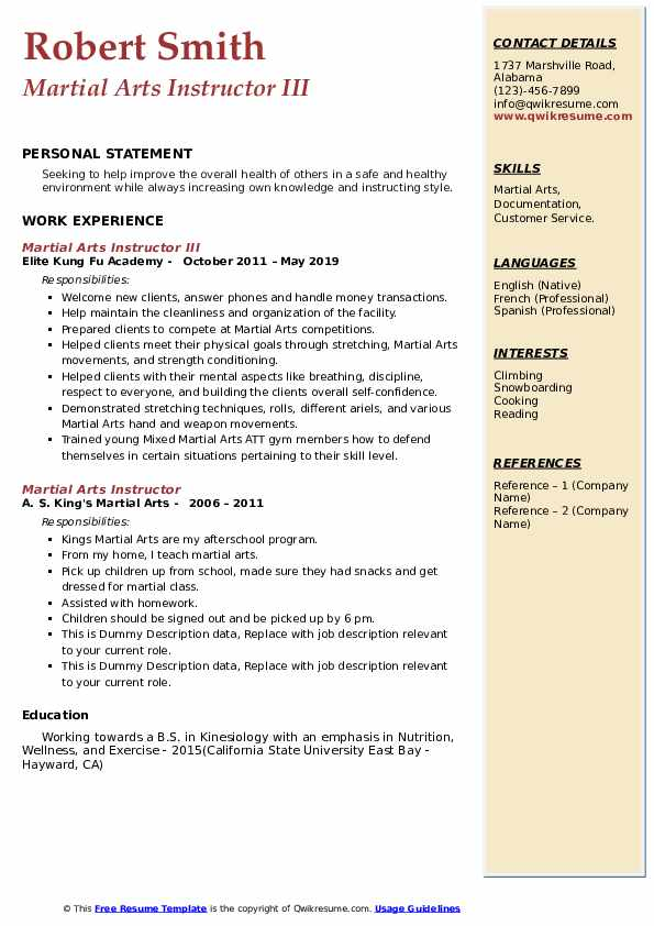 martial arts instructor resume samples qwikresume experience pdf paid builder medical Resume Martial Arts Experience Resume