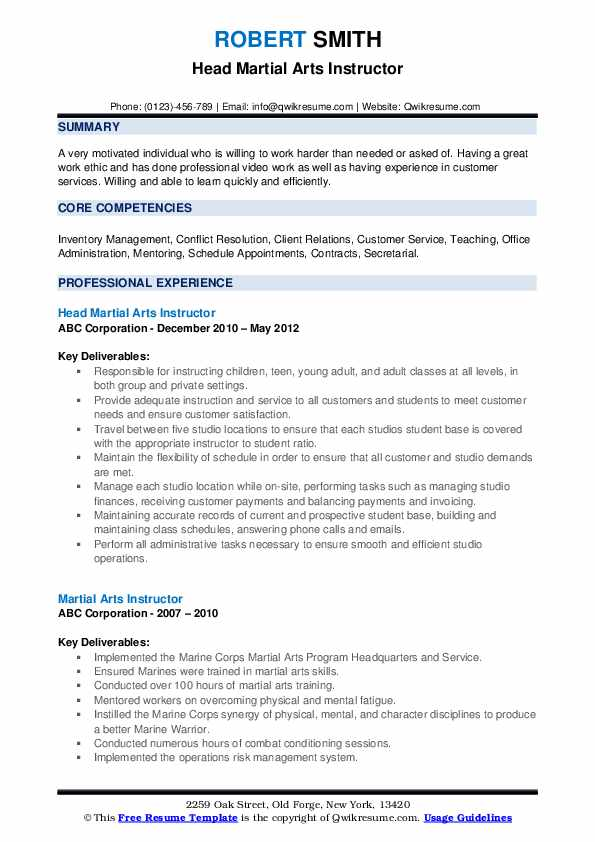 martial arts instructor resume samples qwikresume experience pdf software engineer Resume Martial Arts Experience Resume