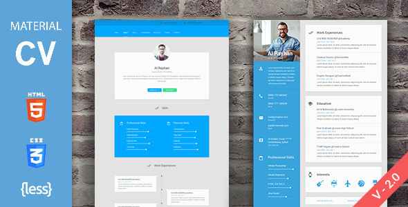 material design cv resume templates template free preview image large full detailed Resume Material Design Resume Template Free